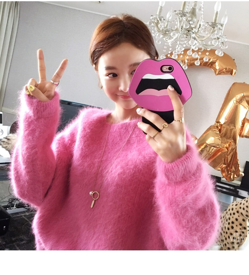 Korean Sweater Cashmere Women Rose Red Fashion Winter Mohair Wool Plush Ladies Blue Velvet Thick Pullover High Quality Knitted