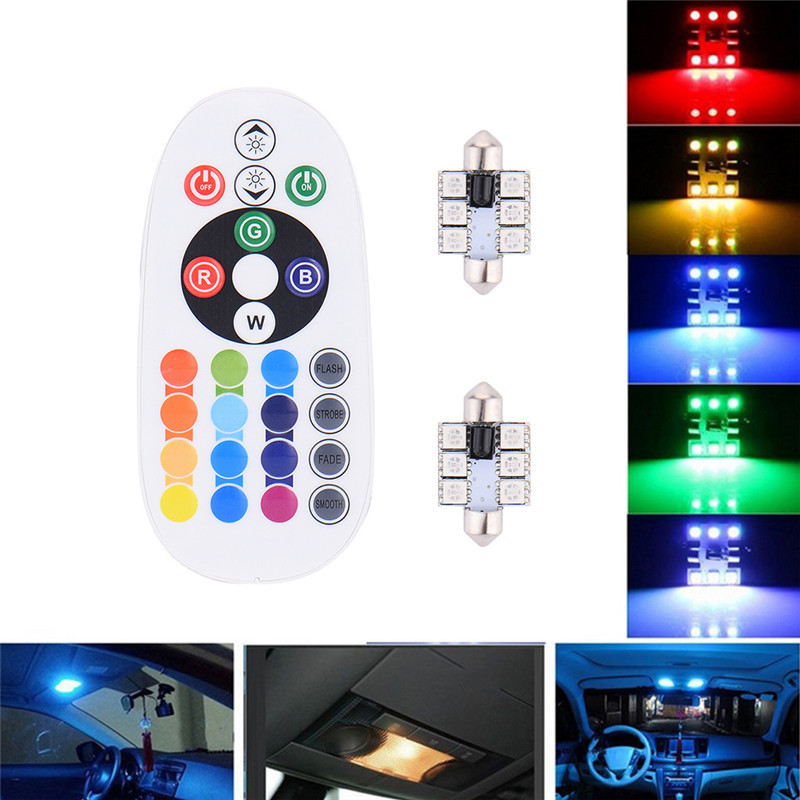 1W 31mm 12V 6 COB Car LED Bulb Dome Festoon Interior Reading Auto Super Bright Light Source RGB Color 2pcs 12v 31mm 36mm 39mm 41mm canbus led auto festoon light error free interior doom lamp car styling for volvo bmw audi benz