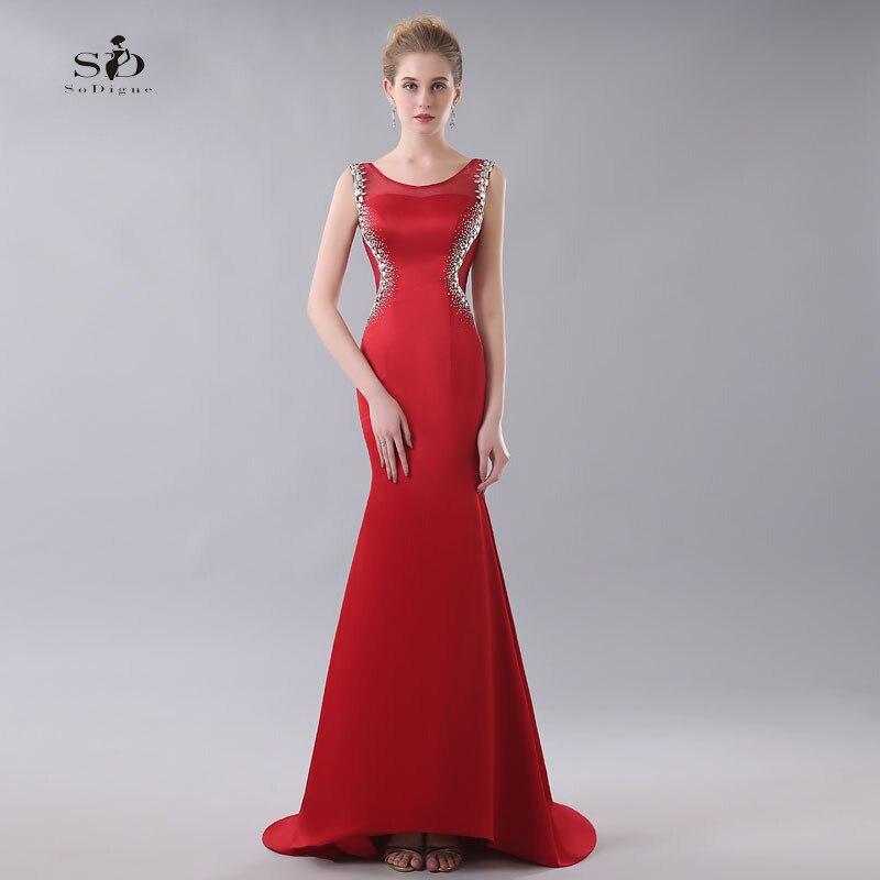 Robe Largo De Noche cristaux robes De soirée sirène rouge robes formelles tache robes De bal 2018 offre spéciale soirée