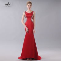 Vestido Largo De Noche Crystals Evening Dresses Mermaid Red Formal Dresses Stain Prom Gowns 2017 Hot Sale Evening Party
