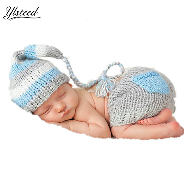 Knitted Baby Hat Shorts Set Newborn Photo Props Baby Boy Blue Photo Costume Long Tail Hat Newborn Photography Accessories 6m baby boy hat pants set with tie little gentlemen cap casquette baby boy costumes for photo shooting baby photography props