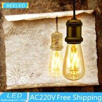 LED Lamp Free Shipping 2200k LED Edison Bulb Indoor LED Light Clear Glass AC220V E27 ST64