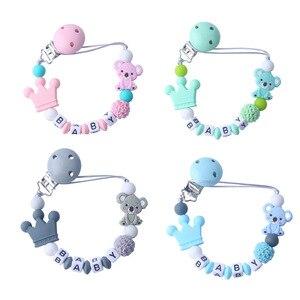 Image 5 - Kişiselleştirilmiş adı bebek emzik klipsi Koala emzik zinciri tutucu bebek diş çıkarma emzik çiğnemek oyuncak kukla klipler