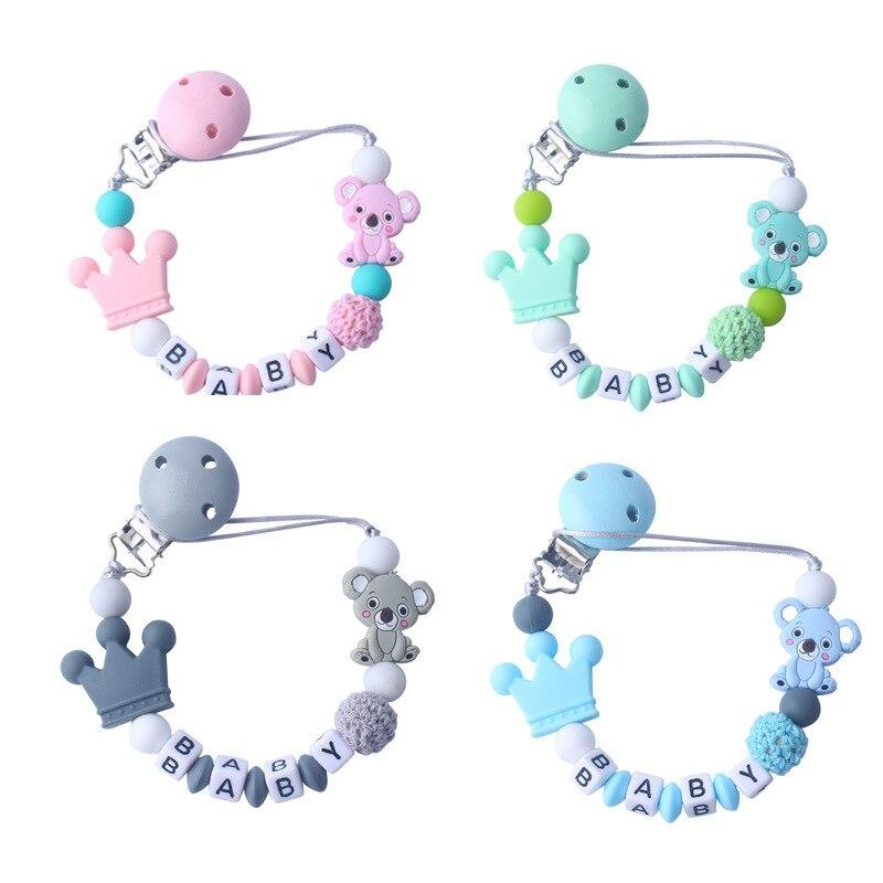 Personalisierte Name Silikon Koala Perlen Schnuller Clip Bunte Schnuller Kette für Baby Zahnen Schnuller Kauen Spielzeug Dummy Clips