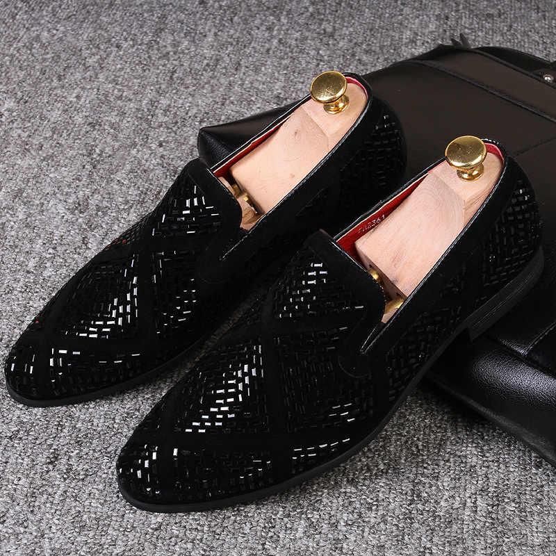 M-Anxiu Nam Thời Trang Giày Loafer Đảng Váy Đầm Ren Mũi Nhọn Phẳng Thoáng Khí ĐẦM DỰ TIỆC Giày