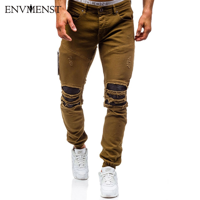 Envmenst Brand Designer Slim Fit Ripped Jeans Men Hi-Street Mens Distressed Denim Joggers Knee Holes Washed Destroyed Jeans fashion brand designer mens torn jeans pants hi street ripped denim joggers gray distressed jean trousers man streetwear lq076