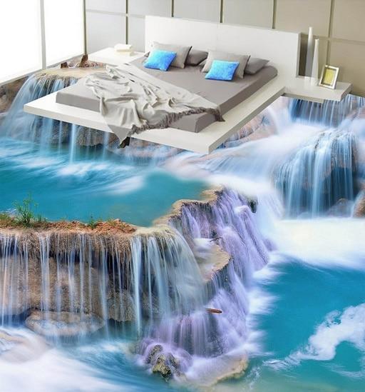 [Self-Adhesive] 3D White Streams Lake 5 Non-slip Waterproof Photo Self-Adhesive Floor Mural Sticker WallPaper Murals Print Decal