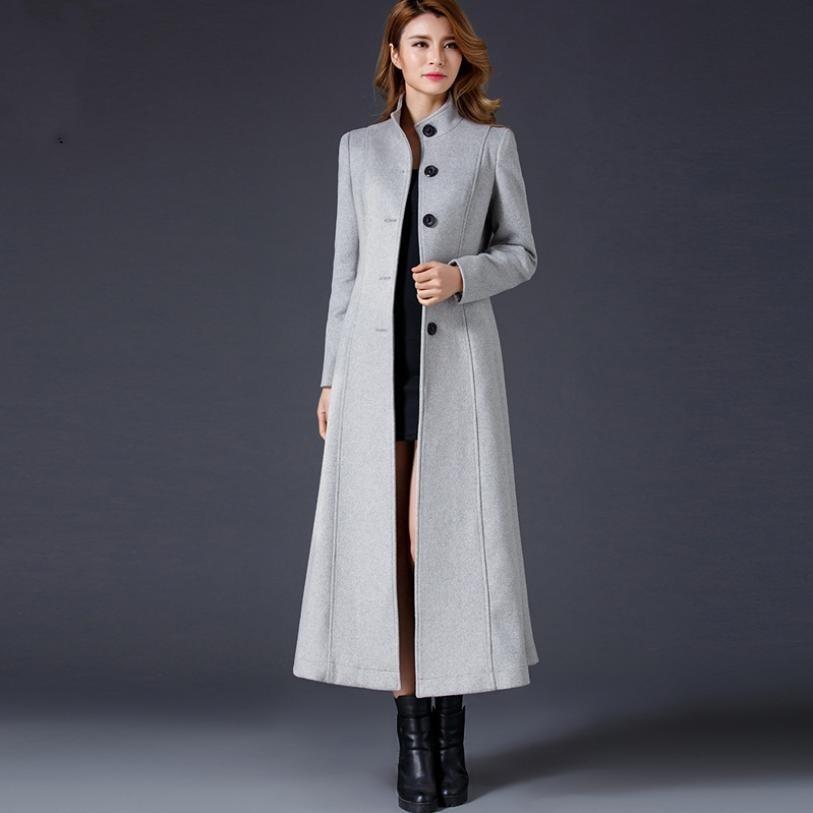 Slim Laine Col Gris Mode Single De Chaud 2018 Grey Debout Longue Manteau L1425 Épaissir Pardessus Hiver breasted Femmes Veste qxR8CEIw