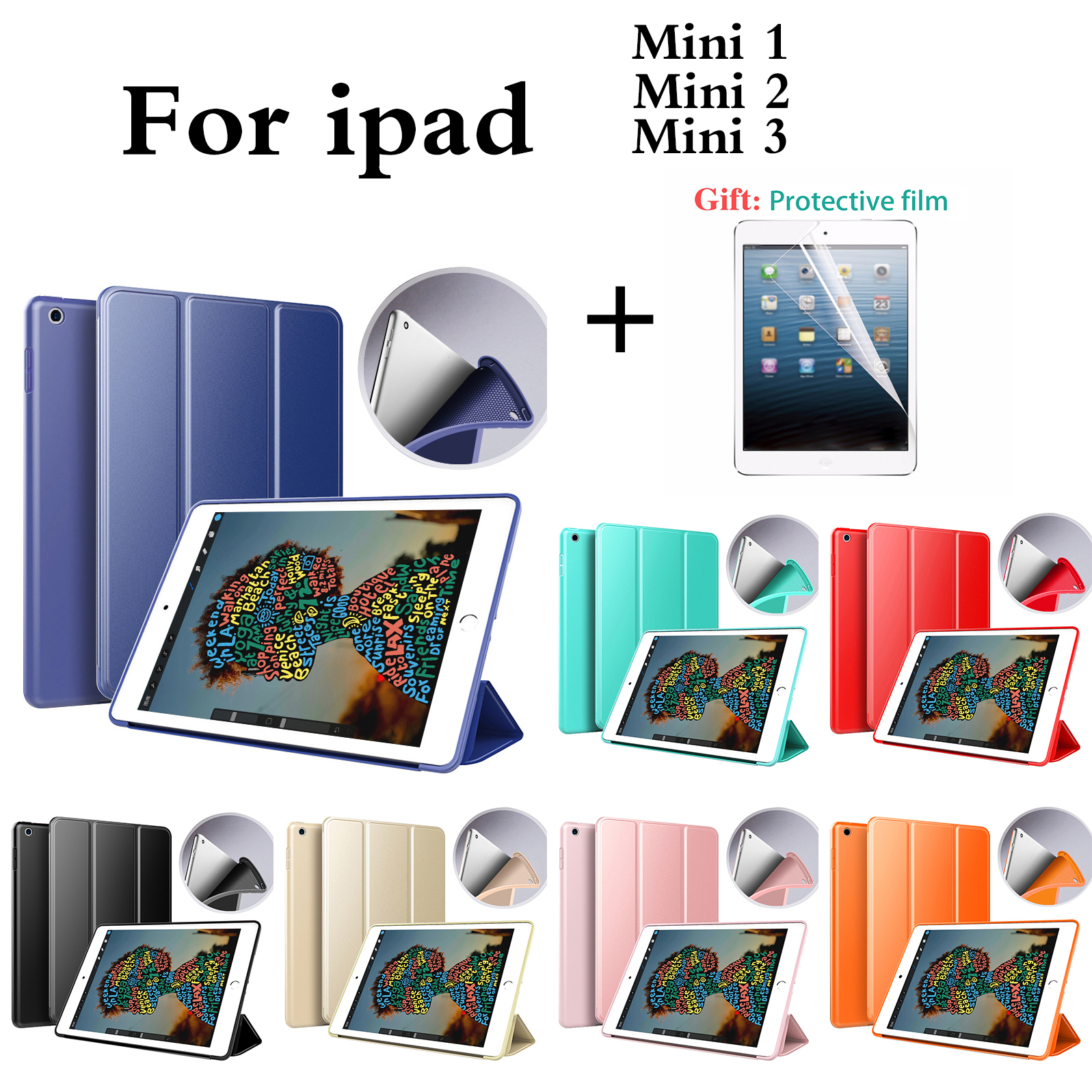 Case For <font><b>iPad</b></font> <font><b>Mini</b></font> 3 2 1 PU Leather Auto Sleep protective shell for Apple <font><b>iPad</b></font> <font><b>mini</b></font> 1/<font><b>mini</b></font> 2/<font><b>mini</b></font> 3 Cover + Screen Protector image