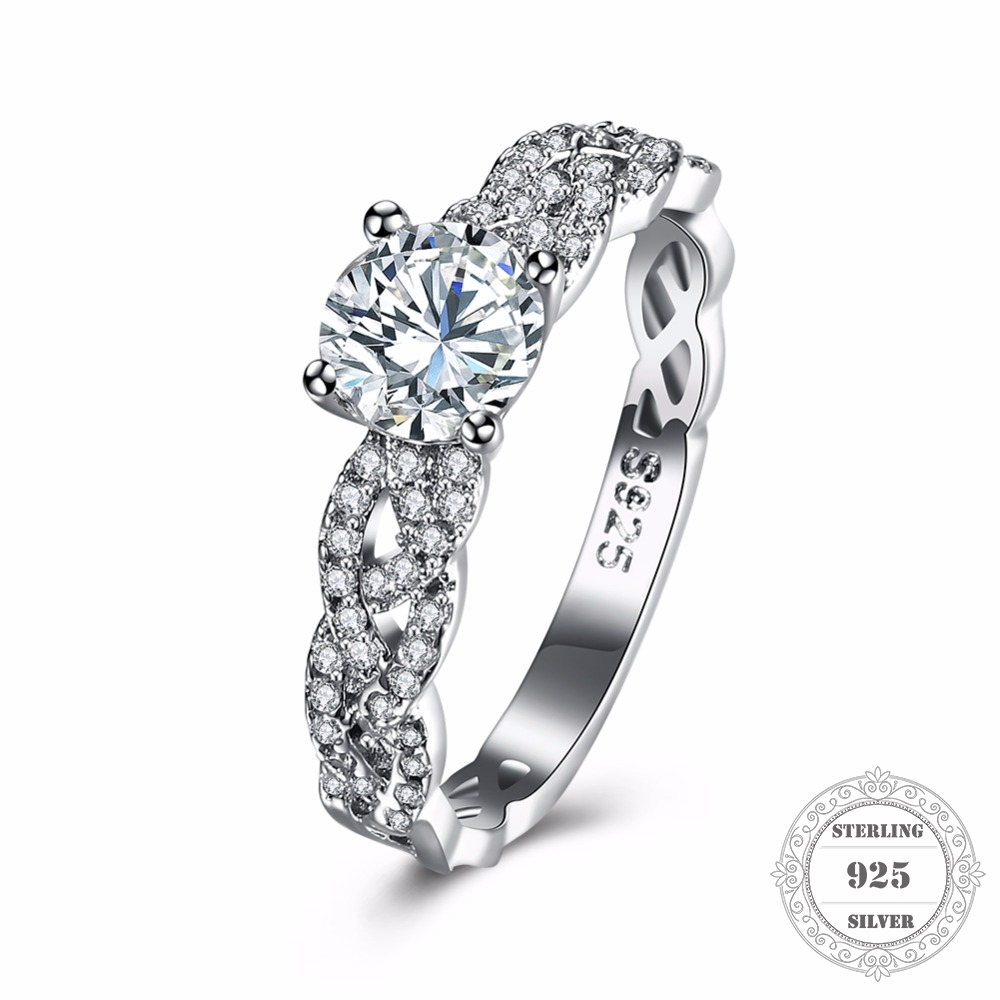 Hemiston 925 Sterling Silver Weaved Twisted Round Shape Princess Cut Stamp Pave Clear CZ Rings Women Fine ewelry Gift TFR123