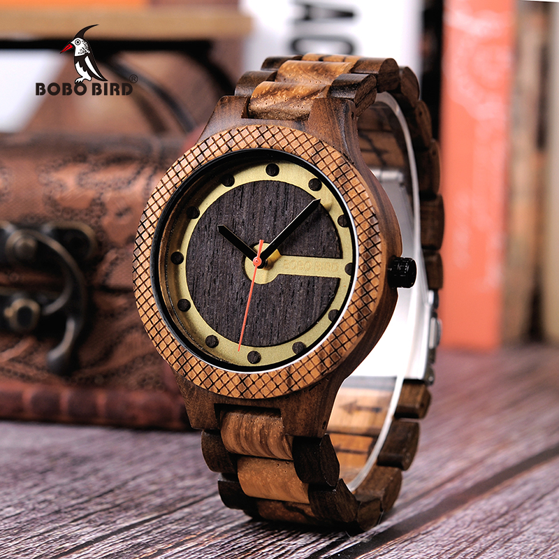 BOBO BIRD Q09 Mens Wooden Watch Simple Quartz Watches Zebrawood and Ebony Optional Free Shipping ben and bobo