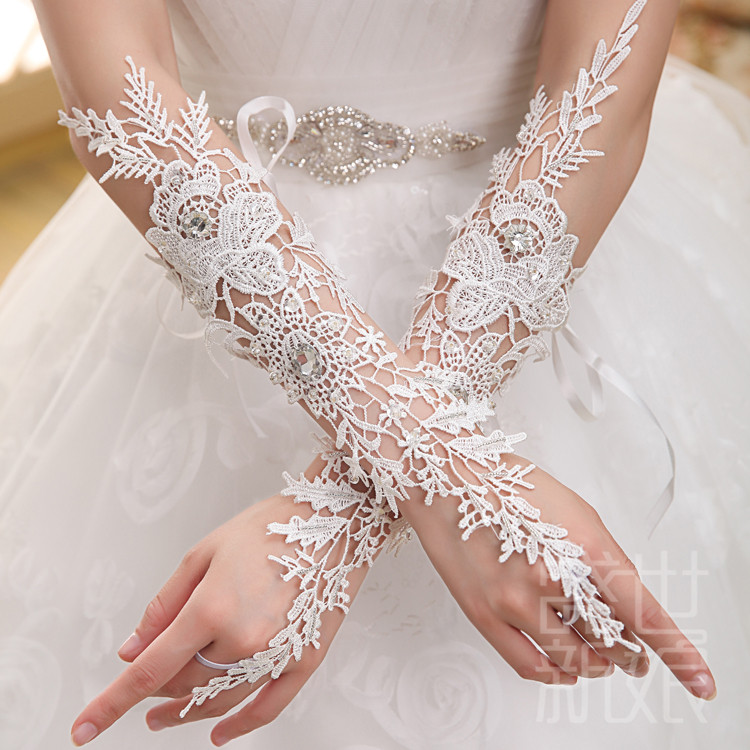 Gorgeous Y White Lace Fingerless Wedding Gloves Sheer Rhinestones Beading Bridal In From Weddings Events On