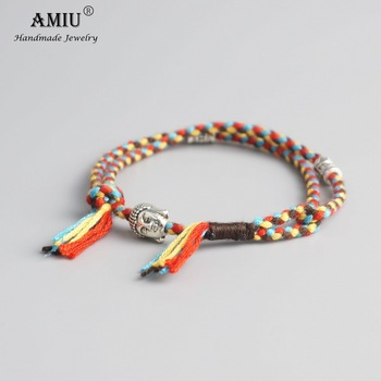 AMIU Tibetan Buddhist Lucky Woven Amulet Tibetan Cord Bracelets & Bangles Handmade 4