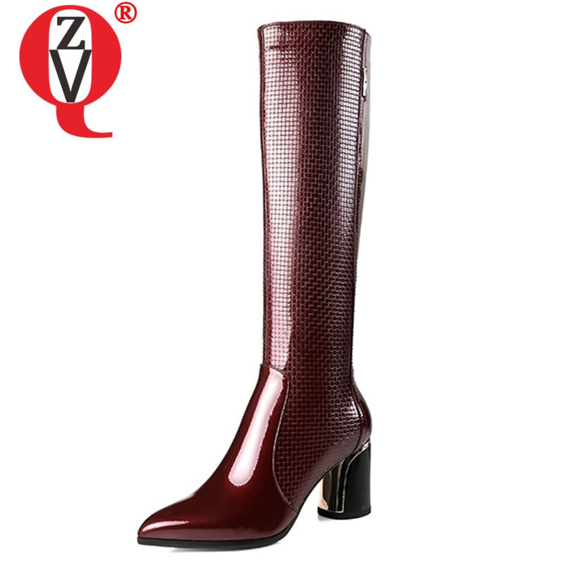 ZVQ women shoes 2018 winter new fashion sexy pointed toe high quality genuine leather high round heels zip party knee high bootsZVQ women shoes 2018 winter new fashion sexy pointed toe high quality genuine leather high round heels zip party knee high boots