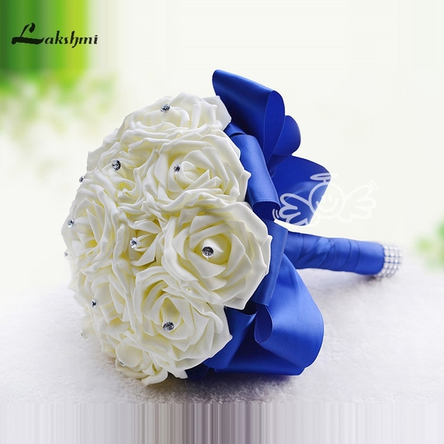 Rose Artificial Bridesmaid Flowers Wedding Bridal Bouquets Royal Blue Silk Ribbon Handmade Bouquet