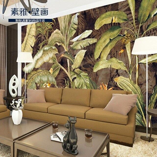 Southeast Asia Large Mural Banana Leaf Wallpaper Retro Seamless Living Room  TV Backdrop Mural Painting Wall