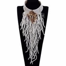Multicolor Fashion Resin Seed Beads Tassels Choker Jewelry Chain Pendant Bib Long Necklace BK