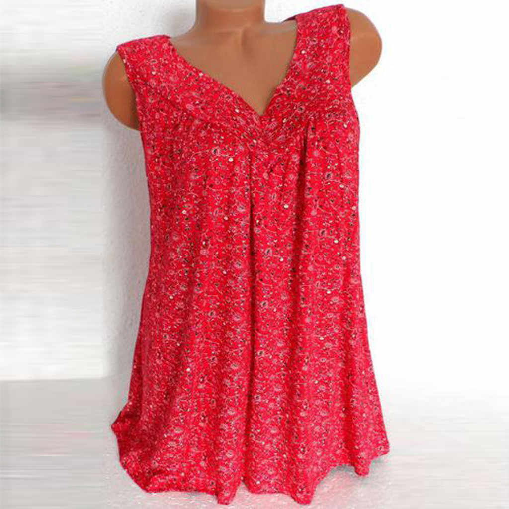 Camiseta Multicolor a la moda para Mujer Verano 2019 cuello en V Casual estampado floral suelto camiseta sin mangas superior Mujer elegante