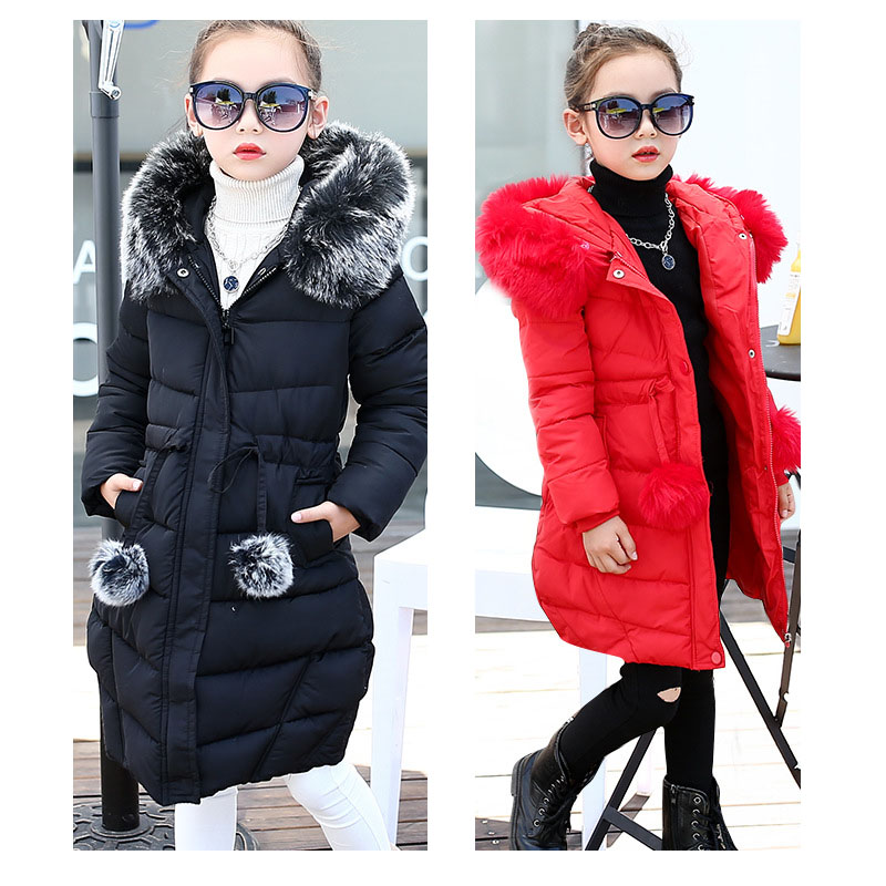 fur hooded children 2018 winter long coats and jackets clothes girls casual cotton jacket kids warm padded coats for girls teenage girls winter fleece long coats and jackets kids double breasted warm padded cotton solid jacket girl children clothing