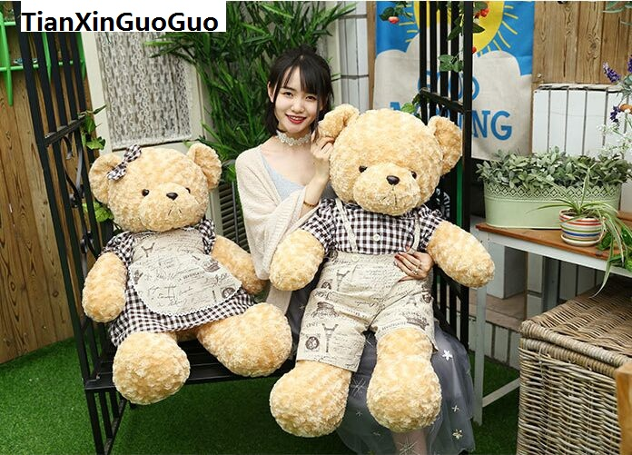 new arrival huge 100cm couple teddy bears plush toy lovely dressed loves bear soft doll throw pillow Valentine's Day gift b0758