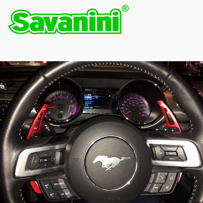 Savanini 2pcs Aluminum Steering Wheel Shift Paddle Shifter Gear Extension For Ford Mustang 2015 UP auto car styling sticker free аксессуары для ванной и туалета karna коврик для ванной damask цвет светло лаванда 60х100 см