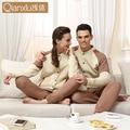 2016 Novos Amantes do Inverno Clipe de Algodão Raglan Longo-Sleeved Calças Ternos de Lazer Confortável E Quente Pijamas Homens Qianxiu 1554
