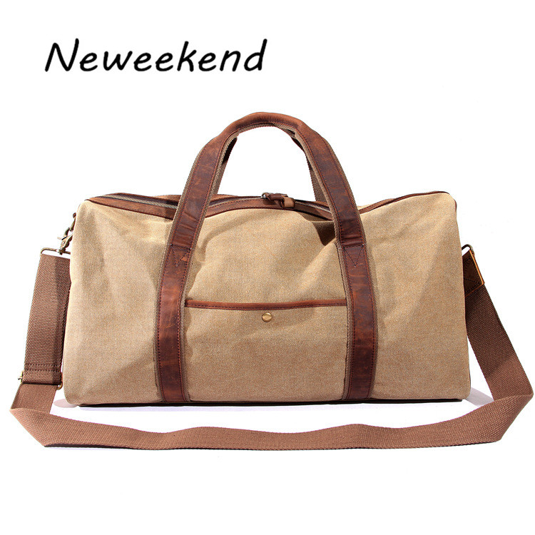 ФОТО NEWEEKEND Unisex Vintage Crazy Horse Canvas Large Capacity Zipper Luggage Travel Handbag MS12033 for Man