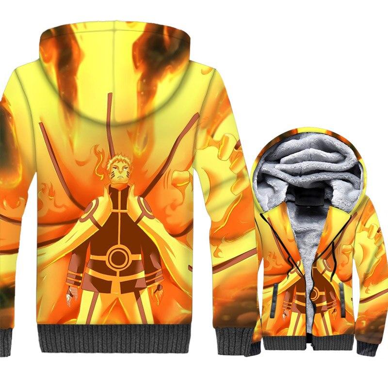 Kurama Naruto Uzumaki 3D Jacket Men Harajuku Hoodie Japan Anime Sweatshirt Winter Thick Fleece Zipper Ninja Coat Cool Streetwear