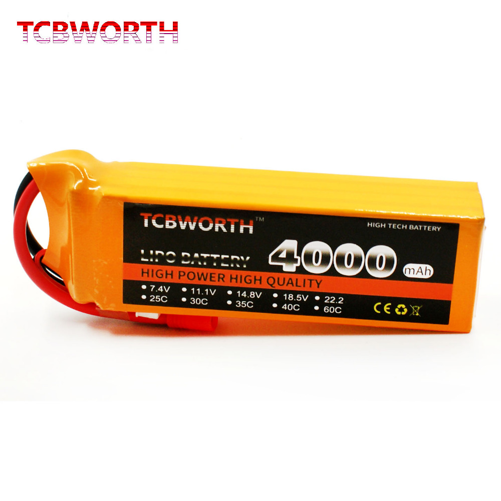 TCBWORTH 4S 14.8V 4000mAh 35C Max 70C RC Airplane LiPo battery For RC Helicopter Quadrotor Car boat Drone Truck Li-ion battery tcbworth 11 1v 3300mah 60c 120c 3s rc lipo battery for rc airplane helicopter quadrotor drone car boat truck li ion battery