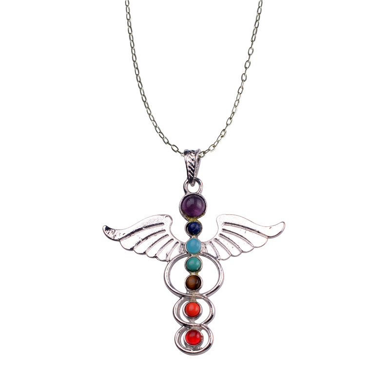 Angel Wings Divine God Symbol 7 Chakra Stone Necklace Reiki Spiritual Healing Amulet  for  balancing,