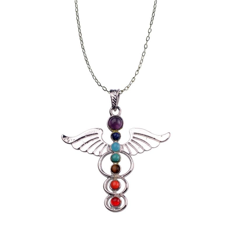 Angel Wings Divin God Symbol 7 Chakra Colier de piatră Reiki Amulet vindecare spirituală pentru echilibrare,