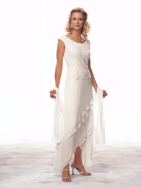 Calças de Comprimento no tornozelo 2017 Mãe Da Noiva Vestidos A Linha Cap Mangas Lace Chiffon Longo Mãe Vestido Vestidos de Noite Para Casamentos
