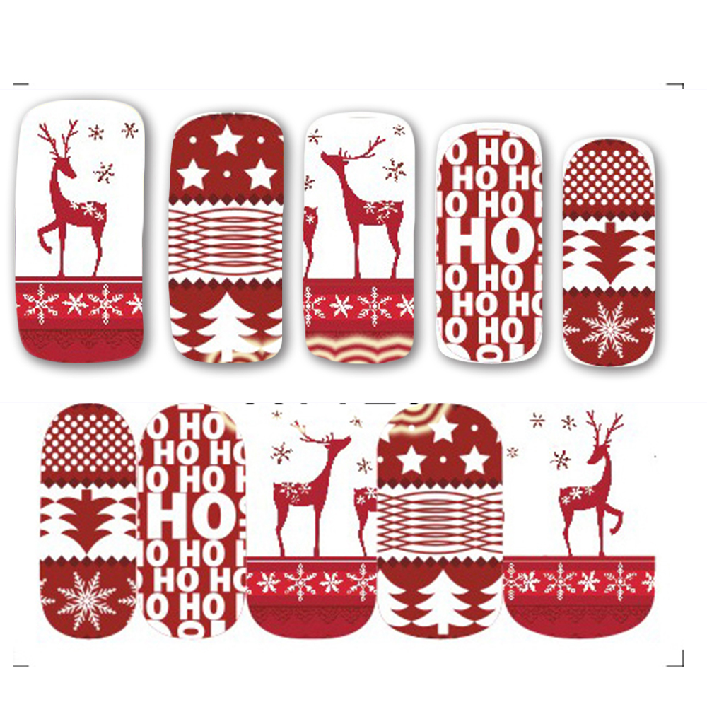 1pcs christmas theme nail art decals fashion red deer xmas full designs for nail decorations watermark tips saa1129
