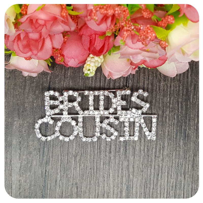 BlingBling Wedding Theme Gift quot BRIDES COUSIN quot Brooch Pin Jewelry for Bride 39 s Relative in Brooches from Jewelry amp Accessories