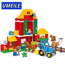 UMEILE Brand 123PCS Original Animal Large Particle Building Blocks Zoo Set Kids Toys DIY Brick Compatible With Duplo Gift