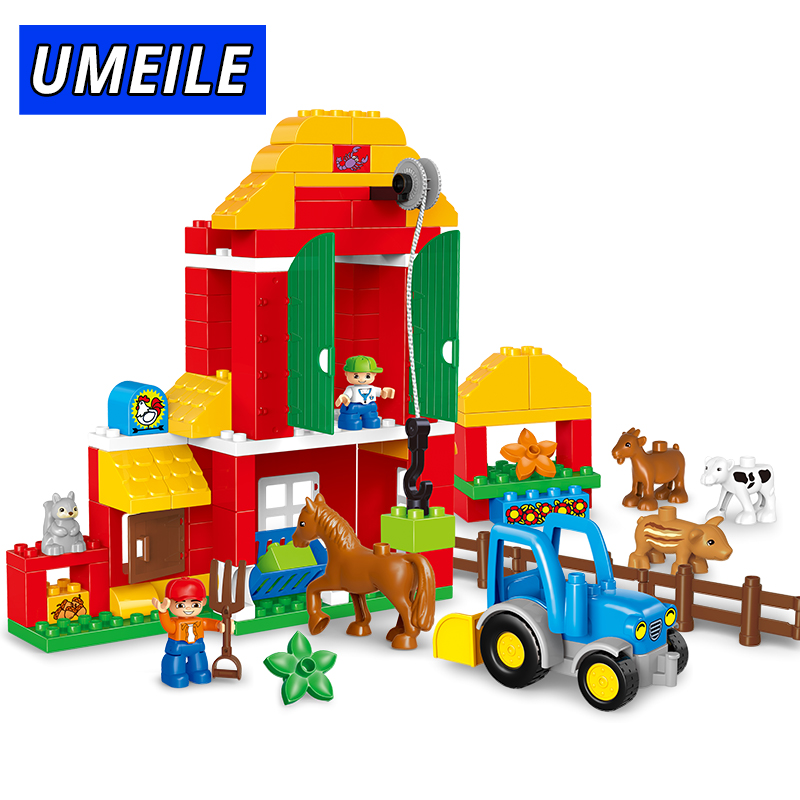 UMEILE Brand 123PCS Original Animal Large Particle Building Blocks Zoo Set Kids Toys DIY Brick Compatible With Duplo Gift