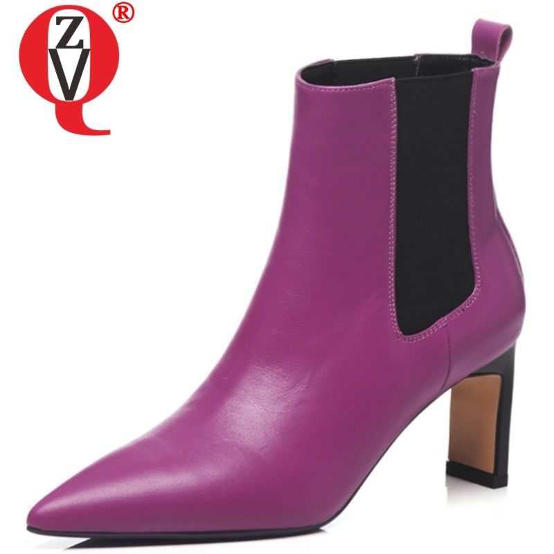 ZVQ 2018 winter fashion pointed toe genuine leather women ankle boots high strage style slip-on black and roes red ankle bootsZVQ 2018 winter fashion pointed toe genuine leather women ankle boots high strage style slip-on black and roes red ankle boots