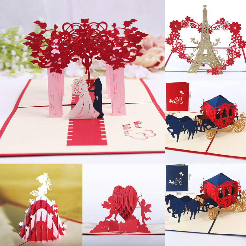1 set Invitations Cards Handmade  Anniversary  Merry Christmas Card Gifts Valentine Lover Greeting Cards Hot New 3D Pop Up