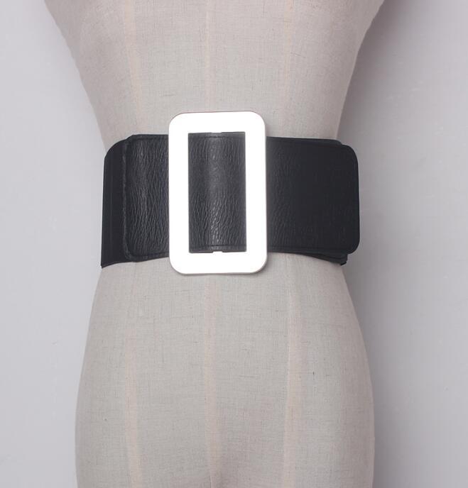 Women's Runway Fashion Gold Silver Buckle Elastic Cummerbunds Female Dress Corsets Waistband Belts Decoration Wide Belt R1464