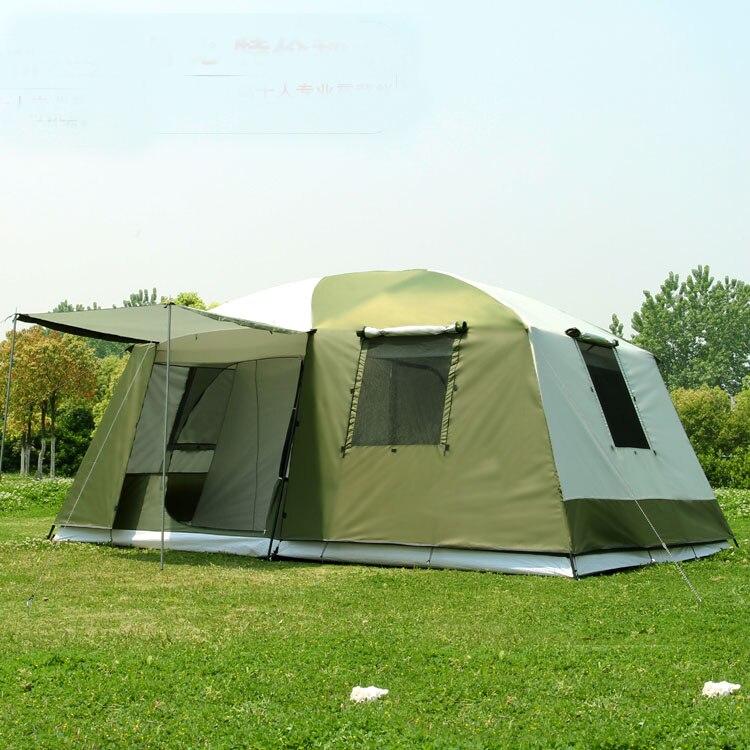 Haute qualité 10 Personnes double couche 2 chambres 1 hall grand en plein air fête de famille camping tente en bonne qualité avec grand espace