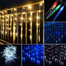 LED icicle Curtain Fairy String Light 8 Modes 220V indoor outdoor Decoration Light For home Patio Pgarden yard Wedding Christmas