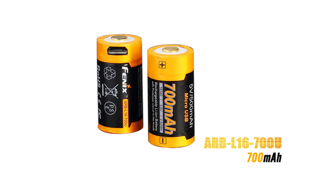 Fenix ARB-L16-700U USB Rechargeable 700mAh Rechargeable Li-ion 16340 RCR123A Battery