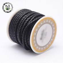 1roll Black Braided Leather Cord Jewelry Findings for DIY 3mm 4mm 5mm 6mm