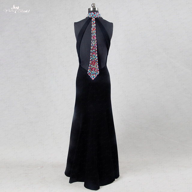 6a195f8a3544 RSE740 Sexy Backless Halter Neckline Crepe Black Prom Dress Mermaid With  Rhinestones