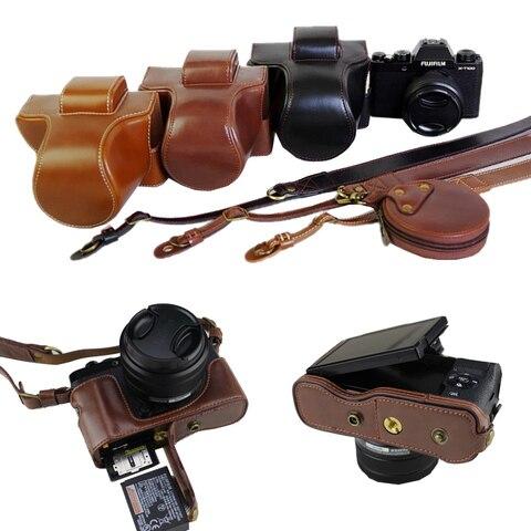 Bolsa da Câmera para Fujifilm Capa de Couro com Bateria de Abertura + Ombro Novo Luxo Fuji x T100 pu Case Cinta X-t100 Xt100