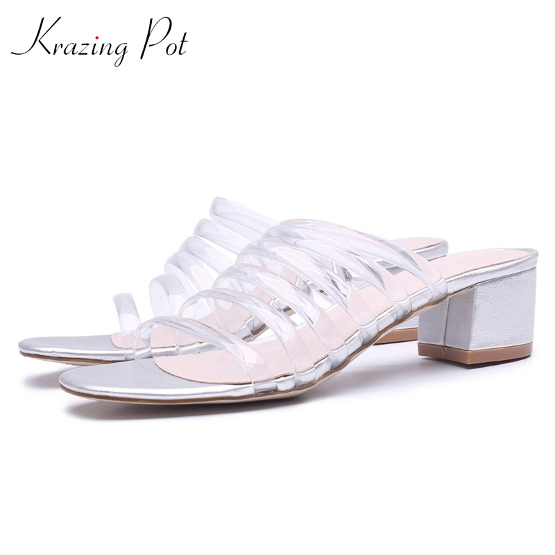 Krazing pot Princess Crystal Shoes brand summer slip on peep toe women sandals runway gradiator thick med heels casual mules L76 2018 kid suede brand summer shoes peep toe slingbacks women sandals runway fur strange style med heels casual vacation shoes l30