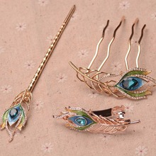 Vintage Enamel Peacock Feather Hairpins Wedding Bridal Hair Jewelry Accessories Crystal Bride Hair Combs Head Ornaments
