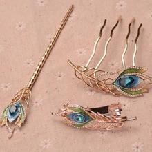Vintage Enamel Peacock Feather Hairpins Wedding Bridal Hair Jewelry Accessories Crystal Bride Hair Combs Head Ornaments