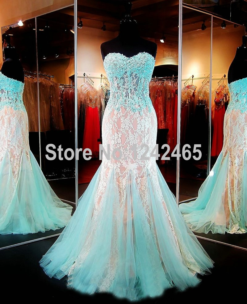 Aquanude Lace Prom Dress Mermaid Evening Formal Gown With Beads Sheer Sweetheart Long -6185