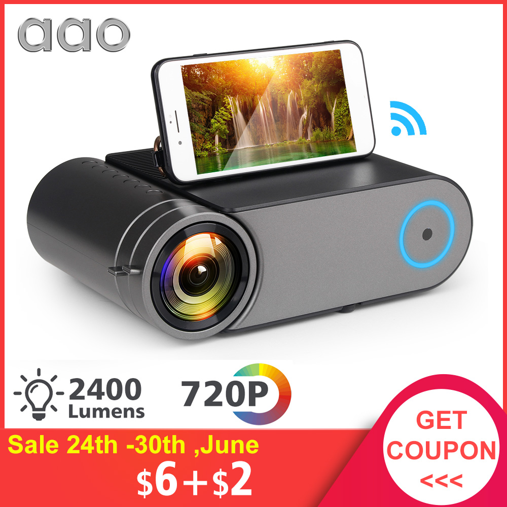 US $116 97 25% OFF|AAO YG420 Mini LED 720P Projector Native 1280x720  Portable Wireless WiFi Multi Screen Video Beamer YG421 3D AC3 HDMI  Proyector-in